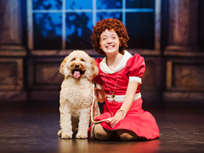 Charlie and Riley DeLuca in Annie, Drayton Entertainment, 2019 Season. Director & Choreographer: David Connolly, Music Director: Michael Lerner, Set Designer: Jean Claude Olivier, Costume Designer: Rachel Berchtold, Lighting Designer: Wendy Lundgren.