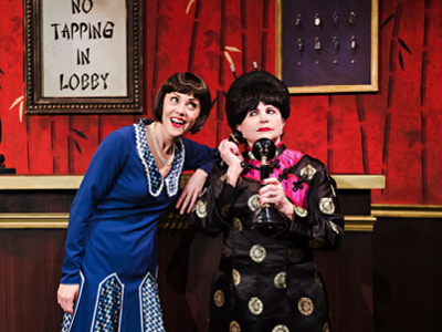 Jayme Armstrong as Millie and Cindy Williams as Mrs Meers, in Thoroughly Modern Millie, Drayton Entertainment, 2019 Season. Director & Choreographer: Michael Lichtefeld, Music Director: Steve Thomas, Set Designer: Ivan Brozic, Costume Designer: Vincent Scassellati, Costume Coordinator: Jessica Pembleton, Lighting Designer: Kevin Fraser. Photographer: Hilary Gauld Camilleri.