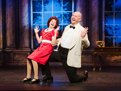 Thom Marriott and Riley DeLuca in Annie, Drayton Entertainment, 2019 Season. Director & Choreographer: David Connolly, Music Director: Michael Lerner, Set Designer: Jean Claude Olivier, Costume Designer: Rachel Berchtold, Lighting Designer: Wendy Lundgren.