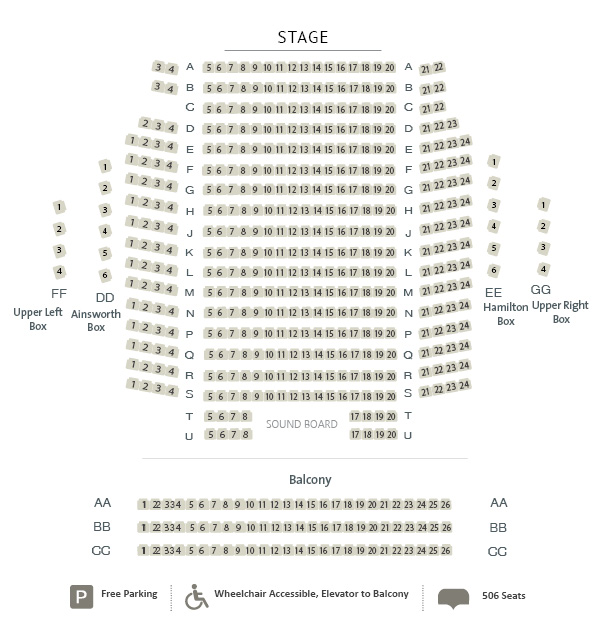 Seating Chart for Hamilton Family Theatre Cambridge