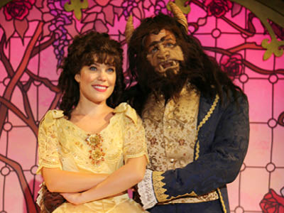Jessica Gallant as Belle and Tony Edgerton as The Beast in Disney's Beauty and the Beast, Drayton Entertainment, 2019 Season.