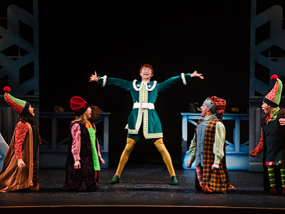 Tim Porter and elves in ELF: The Musical, Drayton Entertainment, 2019 Season.