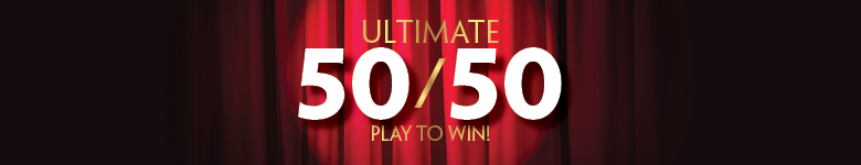 "red curtain with spotlight and text ""Ultimate 50 50 Play to Win"""