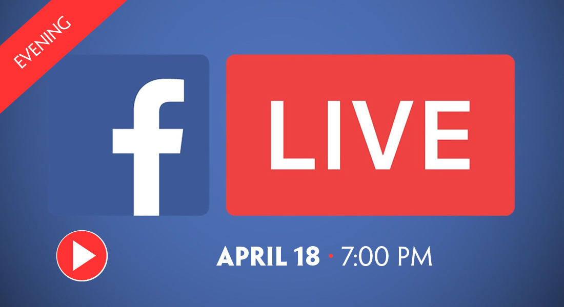 Livestream coming April 18 blue background with Facebook logo and red play button